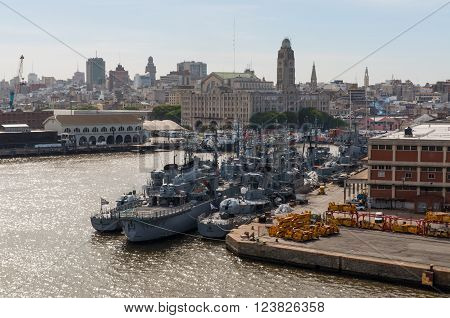 Montevideo, Uruguay - December 15, 2012: Naval ships of the National Navy of Uruguay at the Port of Montevideo, Uruguay.