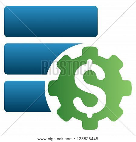 Financial Database Options vector toolbar icon for software design. Style is a gradient icon symbol on a white background.