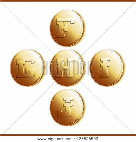 Golden coins with roman letters isolated on white background - part 2 (F - J). Vector illustration 10 EPS