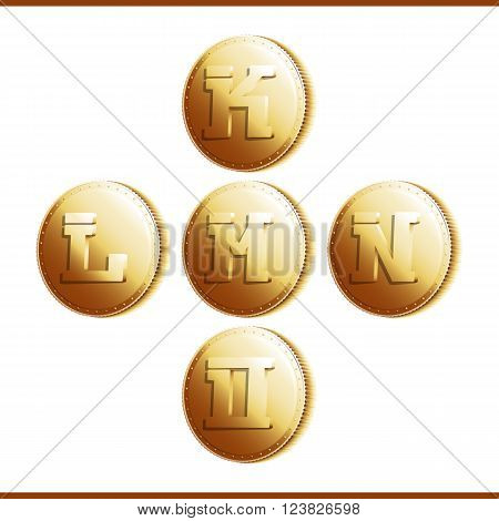 Golden coins with roman letters isolated on white background - part 3 (K - O). Vector illustration 10 EPS