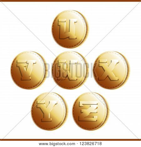 Golden coins with roman letters isolated on white background - part 5 (U - Z). Vector illustration 10 EPS