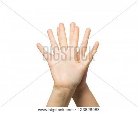 gesture, people and body parts concept - close up of two hands showing five fingers