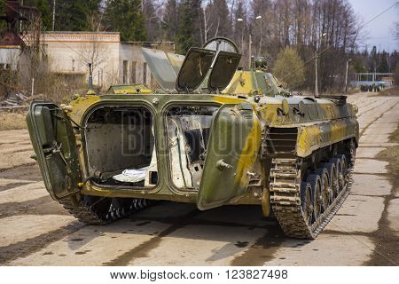 Soviet  tracked infantry fighting vehicle BMP-1 rear view