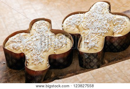 Two Traditional Italian Easter Colomba Cakes