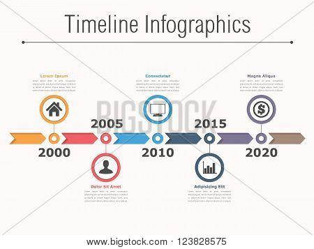 Timeline infographics design with arrows, workflow or process diagram, flowchart, vector eps10 illustration