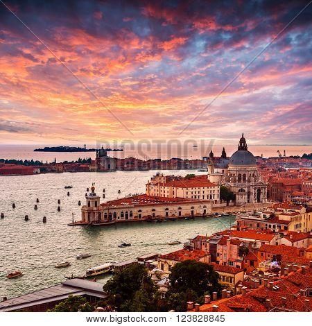 Grand Canal and Basilica Santa Maria della Salute .Venice.Italy