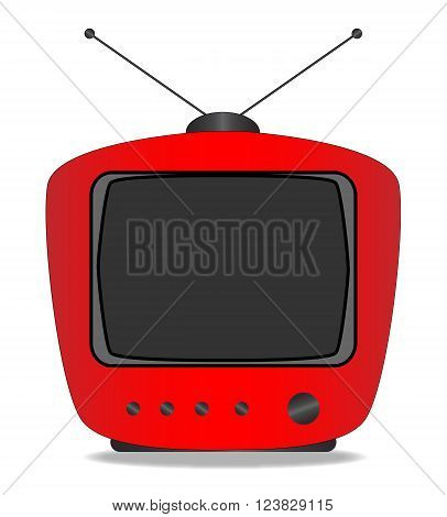 An old tube style period television set over a white background