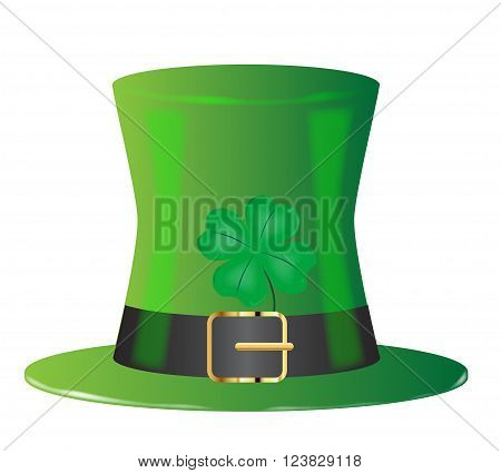 A lucky Irish leprechaun green top hat with four leaf shamrock isolated on white