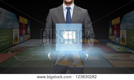 business, communication, multimedia and people concept - close up of businessman in suit with email icon