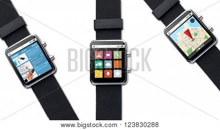modern technology, object and media concept - close up of black smart watch with applications on screen