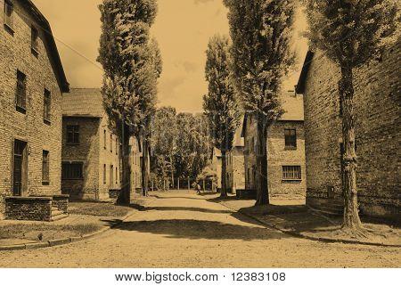 Old style photo of Auschwitz Birkenau camp