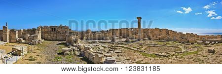 Panoramic view of the ruins of the ancient Greek city Kourion (archaeological site) near Limassol, Cyprus