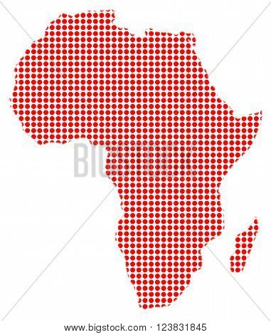 A red dot map of Africa over a white bavkground
