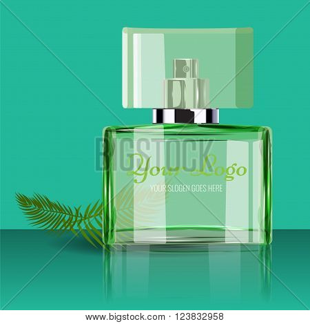 Realistic Perfume Bottle to Use in Beauty, cosmetics, fashion Infographics and Drawings or catalogue. Transparent bottle with leaf Illustrated vector