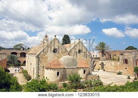 Monnastery of Arkadiou at Crete island in Greece .