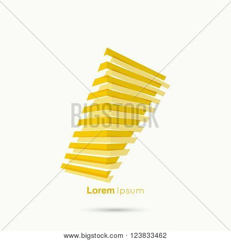 3d logo in  form of  abstract geometric rectangular figures. Stairs from the yellow strips. Low poly