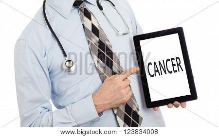 Doctor Holding Tablet - Cancer