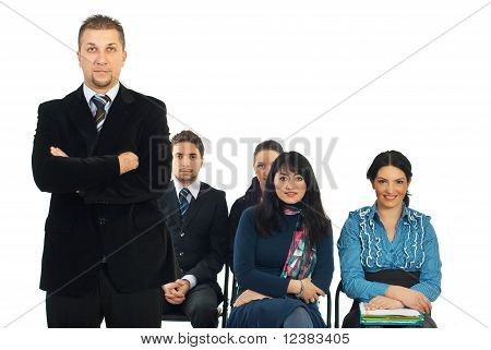 Business Man Teacher In Classroom