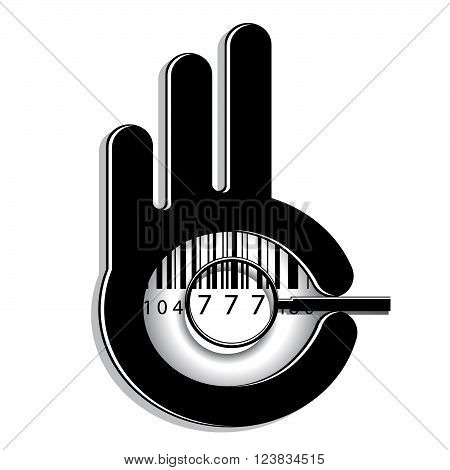 icon business. A hand silhouette with a symbol ok, a magnifying glass and barcode with figures