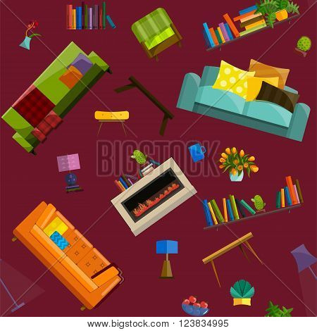 A vector illustration of sale products in a furniture store seamless pattern. Furniture shop interior. Furniture store products in flat style. Concept of Furniture store.