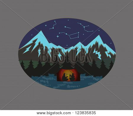Camping in the mountains. Starry sky. Constellation. Isolated