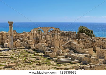 View of the ruins and arches of the ancient Greek city Kourion (archaeological site) near Limassol, Cyprus