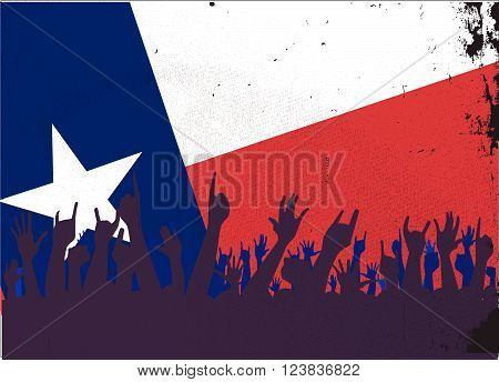 Audience happy reaction with Texas State flag background