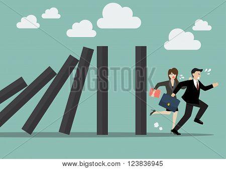 Businessman run away domino effect. Business Concept