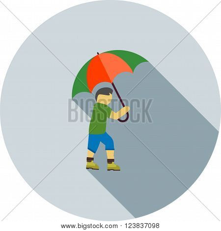 Rain, umbrella, walk icon vector image. Can also be used for outdoor fun. Suitable for use on web apps, mobile apps and print media.