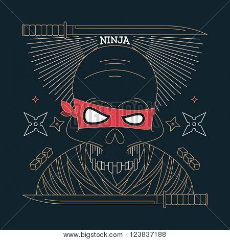 Thin line ninja skull label. Retro vector design graphic element badge emblem logo insignia sign identity logotype poster. Stroke hipster illustration with typographic for t-shirt prints