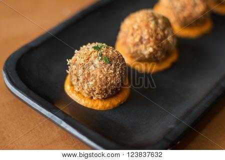 Italian risotto rice balls. close-up Italian risotto ** Note: Shallow depth of field