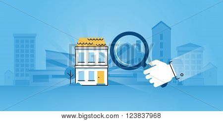 Flat line design website banner of real estate, purchase and sale of apartments and houses, search for the right property, real estate agency. Modern vector illustration for web design, marketing and print material.
