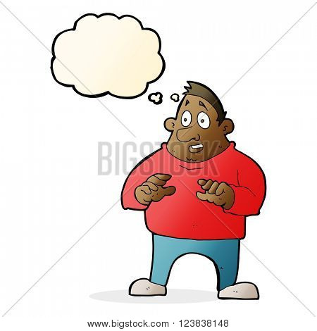 cartoon excited overweight man with thought bubble