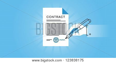 Flat line design website banner for a contract, contract law, contract form samples. Modern vector illustration for web design, marketing and print material.