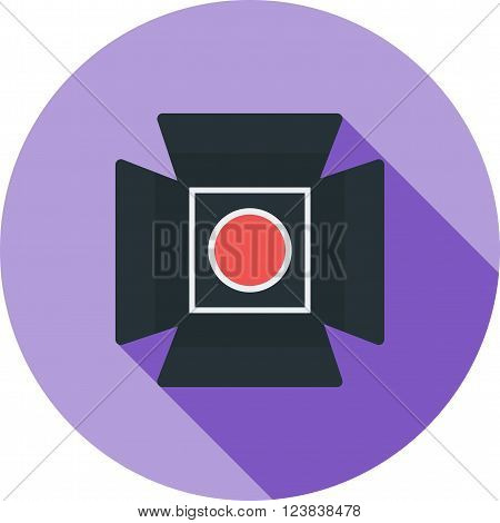 Camera, lights, stage icon vector image. Can also be used for photography. Suitable for use on web apps, mobile apps and print media.