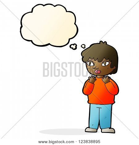 cartoon worried person with thought bubble