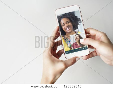 Girl Friends Video Chat Connection Concept