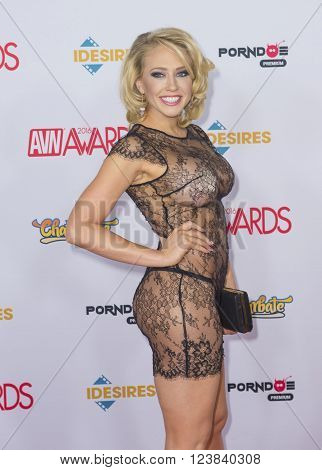 LAS VEGAS - JAN 23 : Adult film actress Kagney Linn Karter attends the 2016 Adult Video News Awards at the Hard Rock Hotel & Casino on January 23 2016 in Las Vegas Nevada.