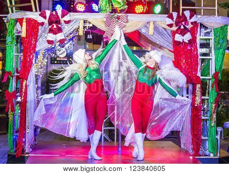 LAS VEGAS - DEC 18 : Actors in the Winter Parq Show at the Linq in Las Vegas on December 18 2015 The Linq is dining and shopping district and High Roller at the center of the Las Vegas.