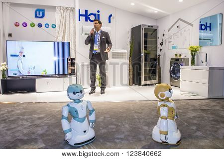 LAS VEGAS - JAN 06 : Smart home at the Haier booth at the CES show held in Las Vegas on January 06 2016 CES is the world's leading consumer-electronics show.