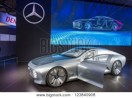 LAS VEGAS - JAN 08 : The Mercedes IAA concept vehicle at the CES Show in Las Vegas Navada on January 08 2016. CES is the world's leading consumer-electronics show.