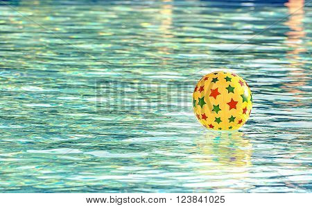 Retro look filter and selective focus / Inflatable ball floating in swimming pool, With place for your text