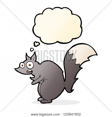 funny startled squirrel cartoon with thought bubble