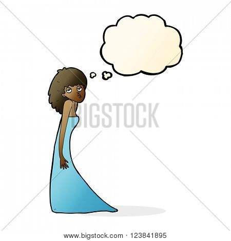 cartoon woman pulling photo face with thought bubble