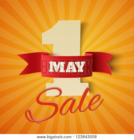 May 1st. Sale Labor Day background. Poster or brochure template. Vector illustration.
