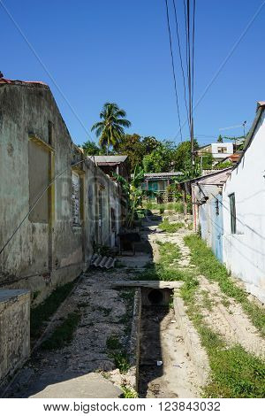 Urban Street Scene from Cuba Cayo Granma ** Note: Visible grain at 100%, best at smaller sizes