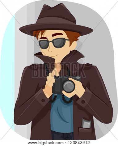 Illustration of a Teenage Boy Dressed in a Detective Costume