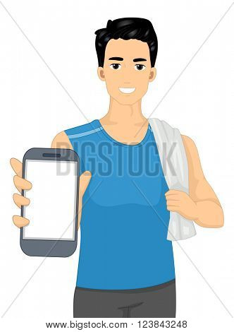 Illustration of a Man in Workout Clothes Showing a Mobile App