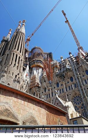 BARCELONA, SPAIN - JULY 31, 2015: Detail of the Passion facade of the basilica Sagrada Familia in Barcelona, Spain