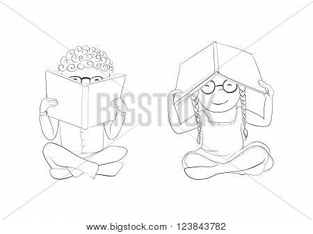 Vector funny kids reading. Boy hiding behind book, girl hiding under book. Outline. Coloring page.